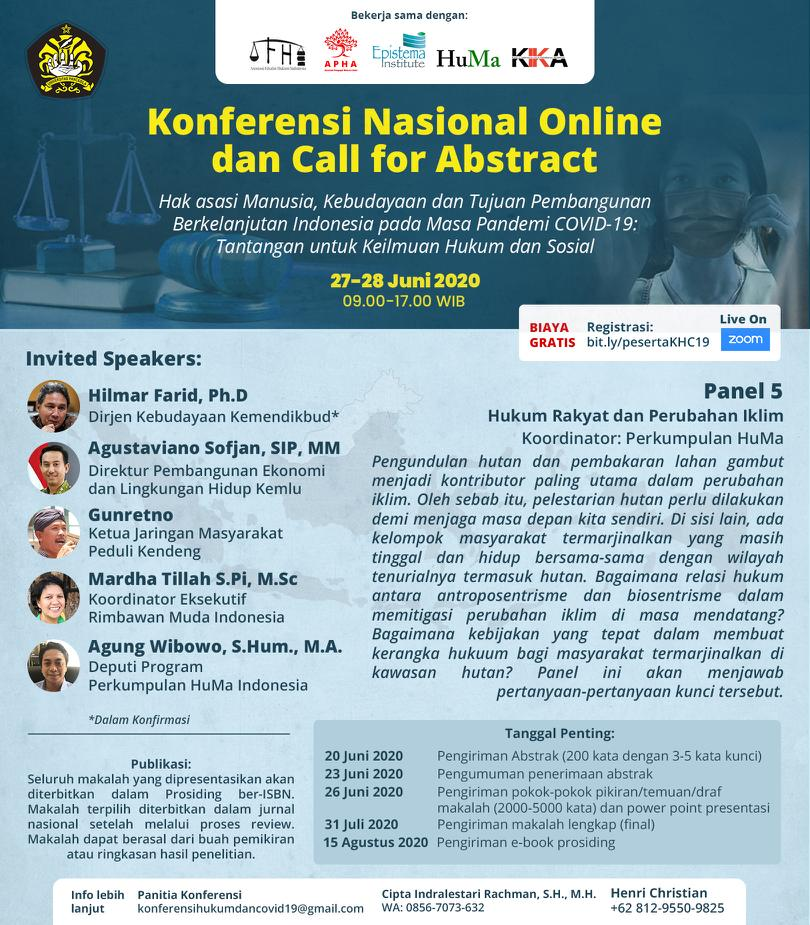 (Indonesia) KONFERENSI NASIONAL ONLINE dan CALL FOR ABSTRACT - PANEL 5 : HUKUM RAKYAT dan PERUBAHAN IKLIM